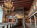 BORRE KIRKE medieval church Horten Norway 2021-07-08 Interior Lysekrone chandeliers Malte søyler Painted coloumns Benkerader pews Orgel organ etc IMG 7987.jpg