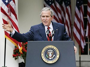 Bush Doctrine - President Bush makes remarks in 2006 during a press conference in the Rose Garden about Iran's nuclear ambitions and discusses North Korea's nuclear test