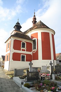 Back view of church of Saint Catherine in Slavíkovice, Třebíč District.JPG