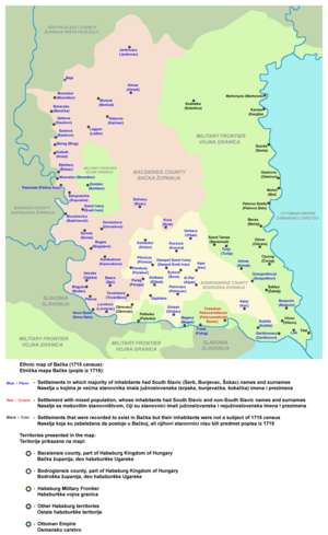 Bács-Bodrog County - Ethnic map and political division of the area in 1715