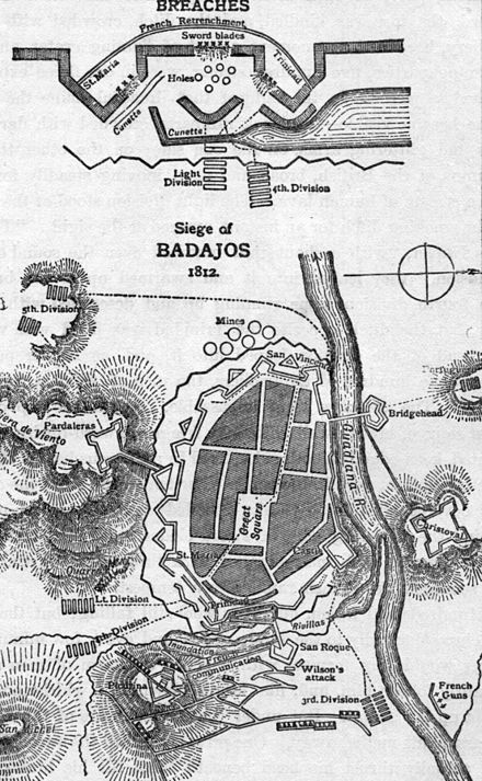Siege of Badajoz Badajos 1812 diagram.jpg