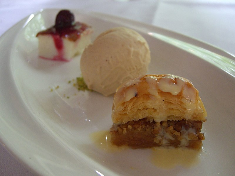 Description Baklava, pomegranite ice cream, mastic-flavoured custard ...