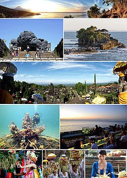 From top, left to right: Sunset over Amed beach with Mount Agung in the background, Garuda Wisnu Kencana monument, Tanah Lot temple, view from top of Besakih Temple, scuba diving around Pemuteran, The Rock Bar at Jimbaran Bay, and various traditional Balinese people activities