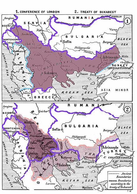 The division of the Ottoman territories in Europe (incl. the region of Macedonia) after the Balkan Wars according to the Treaty of Bucharest Balkan Wars Boundaries cleanup.jpg