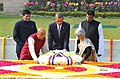 Barack Obama laying wreath at the Samadhi of Mahatma Gandhi, at Rajghat, in Delhi on January 25, 2015. The Minister of State (Independent Charge) for Power, Coal and New and Renewable Energy, Shri Piyush Goyal is also seen.jpg