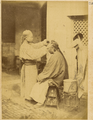 Barber on the Street Shaving Male Customer. Hankou, Hubei Province, China, 1874 WDL1944.png
