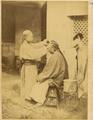 Barber on the Street Shaving Male Customer. Hankou, Hubei Province, China, 1874 WDL1944.png