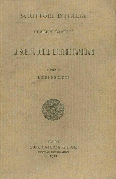 File:Baretti - La scelta delle lettere familiari, 1912 - BEIC 1749851.djvu