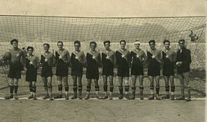 KF Vllaznia Shkodër - From left to right: Kin Bushati (goalkeeper), Ernest Halepiani, Gjelosh Gjeka, Pjeter Gjoka, Qazim Dervishi (captain), Muhamet Halili, Asim Golemi, Luigj Radoja, Gjon Kiri, Myzafer Pipa, Hile Staka, Luigj Shala (coach)
