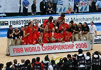 Spain national basketball team celebrating the Championship won in Tokyo.
