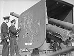 Battle Crest Carried by HMS Pictou. 15 April 1942, on Board the Canadian Corvette, HMS Pictou, Liverpool. A8327.jpg