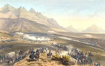 Battle of Buena Vista in the Mexican-American War, painting by Carl Nebel