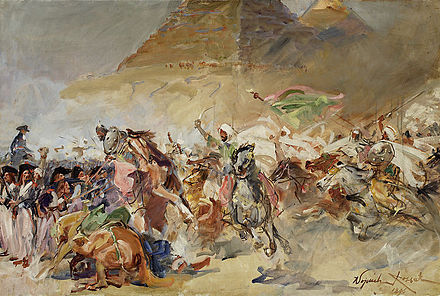 Mamluk cavalry charges French infantry square during the Battle of the Pyramids, painting by Wojciech Kossak. Battle of the Pyramids 1798.jpg