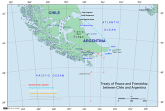 Beagle Channel Arbitration - Present frontier. There was until 1881 mutual agreement about the border line from the 52°S parallel to the north shore of the Beagle Channel. From the Beagle Channel to Cape Horn it was determined by the Award of 1977 and the Treaty of 1984