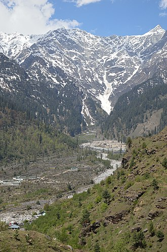 Kullu - View of Himalayas from Beas river valley in Kullu.