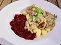 Beef filet dish at Restauracja Ratuszowa, Warka, Poland.jpg
