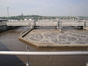 Wastewater treatment - Aeration tank of an activated sludge process at the wastewater treatment plant in Dresden-Kaditz, Germany