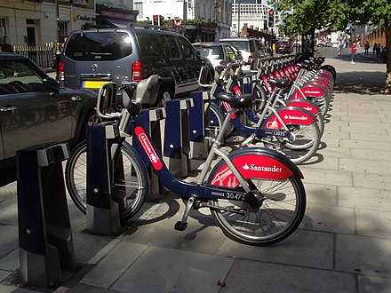 Santander Cycle Hire near Victoria in Central London Belgrave Road, Victoria, London - Boris Bikes - Santander Cycles by Elliott Brown.jpg