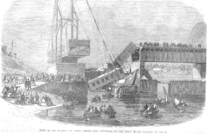 St-Hilaire train disaster - Artist's impression of the rescue effort, published in The Illustrated London News.