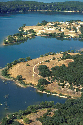 Belton Lake - A small part of Belton lake and the lakeshore. Belton Lake is a long, narrow, winding lake with many curves and coves.