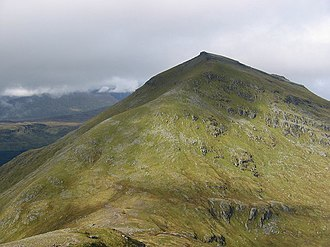 Ben More (Crianlarich) - Ben More from Stob Binnein, illustrating the conical nature of the hill and the tilted rockbands of the mica schist