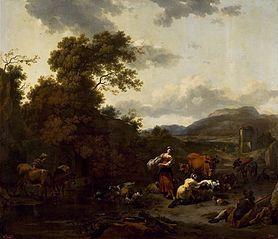 Krajobraz ze sceną pasterską