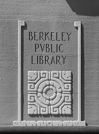 Berkeley Public Library - Image: Berkeley Public Library corner pylon detail