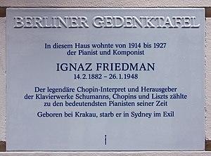 Ignaz Friedman - Image: Berliner Gedenktafel Pariser Str 21 (Wilmd) Ignaz Friedman