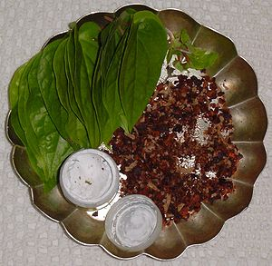 Betel leaf betel nuts and lime