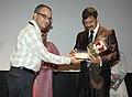 Bhupendra Khaintola felicitated the Actor, Shri Sidhant Mohapatra, at the presentation of the film, (Jianta Bhoota), during the IFFI-2010, at the Inox cinema hall, in Panjim, Goa on November 26, 2010.jpg