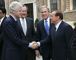Political career of Silvio Berlusconi - From left to right: Bill Clinton, George H. W. Bush, George W. Bush and Silvio Berlusconi.