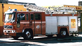 Tyne and Wear Fire and Rescue Service - A 2001 Volvo appliance in traditional Tyne and Wear livery attending an incident. This appliance belonged to Gateshead South fire station before being replaced by a newer machine in 2011.