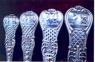 Coburg - Coburg pattern English (London) silver spoons, c. 1830