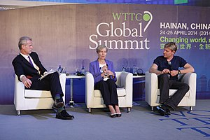 Bjørn Lomborg - Lomborg (right) with DeAnne Julius (center) and Stephen Sackur (left), at WTTC Global Summit 2014