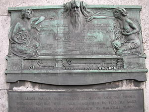 Plaque marking the opening of the Blackwall Tunnel in 1897 Blackwall tunnel plaque.jpg