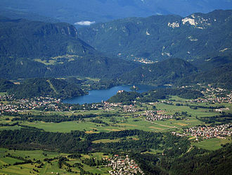 Geography of Slovenia - Aerial view of Lake Bled
