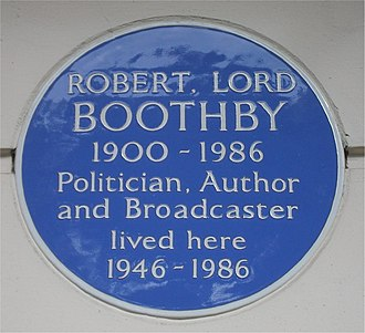 Robert Boothby, Baron Boothby - Blue plaque in Eaton Square, London