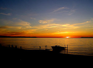 Glen Arbor Township, Michigan - A sunset and South Manitou Island as seen from Glen Arbor