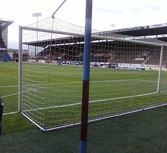 Turf Moor - The Bob Lord Stand as seen from behind the goal at the Cricket Field end