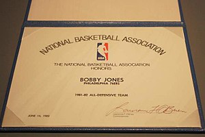 Bobby Jones (basketball, born 1951) - Certificate presented to Jones for NBA All-Defensive honors in 1981–82.