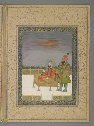 Ahmad Shah Bahadur - Ahmad Shah Bahadur upon the throne; watercolour painting held by the Bodleian Library