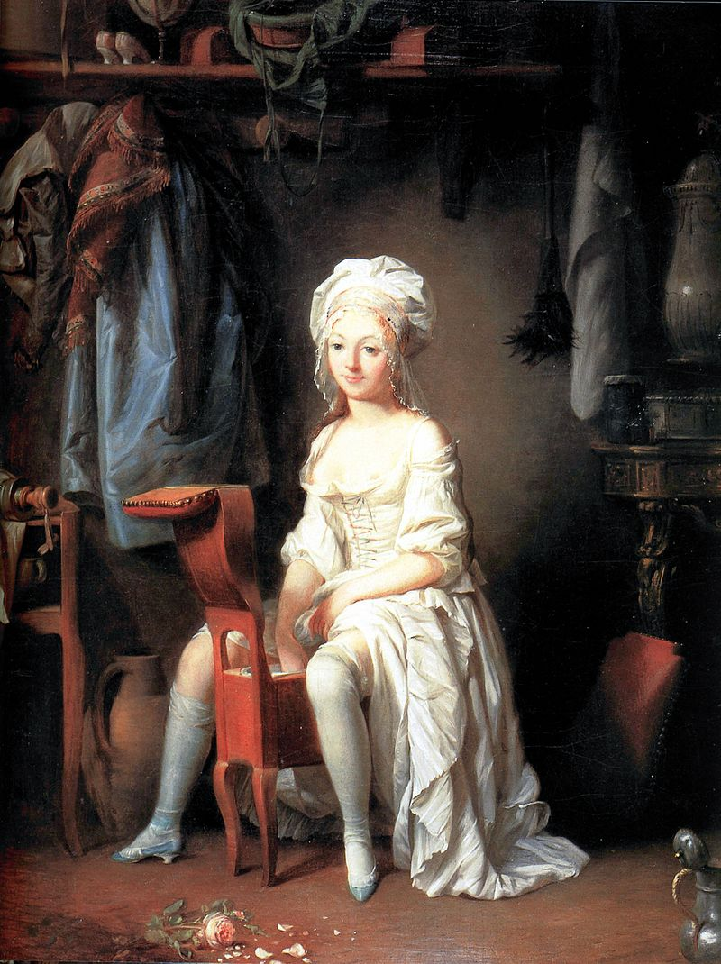 painting of woman using bidet