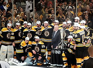 NHL Conference Finals - The 2013 Eastern Conference champion Boston Bruins pose with the Prince of Wales Trophy