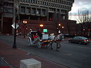Many of Boston's roads were based upon horse and cart paths from the 17th century. A few horse carriages are still found in the city today.