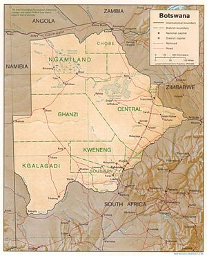Geography of Botswana - Image: Botswana Map