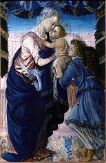 La Vierge à l'Enfant soutenu par un ange sous une guirlande