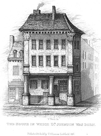 Samuel Johnson Birthplace Museum - Johnson's house in 1831