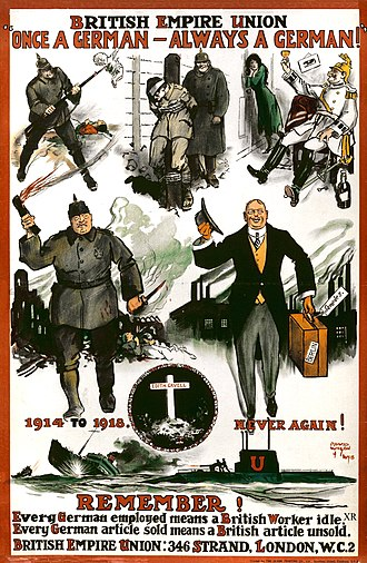 "Anti-German sentiment - British Anti-German poster, circa 1919, calling for boycott of German goods and depicting German businesspeople selling their products in Britain as ""the other face"" of German soldiers who committed atrocities during the 1914–1918 (British Empire Union poster)"