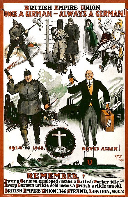 An anti-German post-First World War poster from the British Empire Union, including Cavell's grave British Empire Union WWI poster.jpg