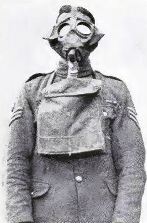 Hohenzollern Redoubt (1916) - Image: British soldier in a Small Box respirator